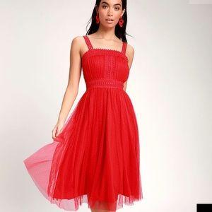 Forever Love Red Swiss Dot Sleeveless Dress